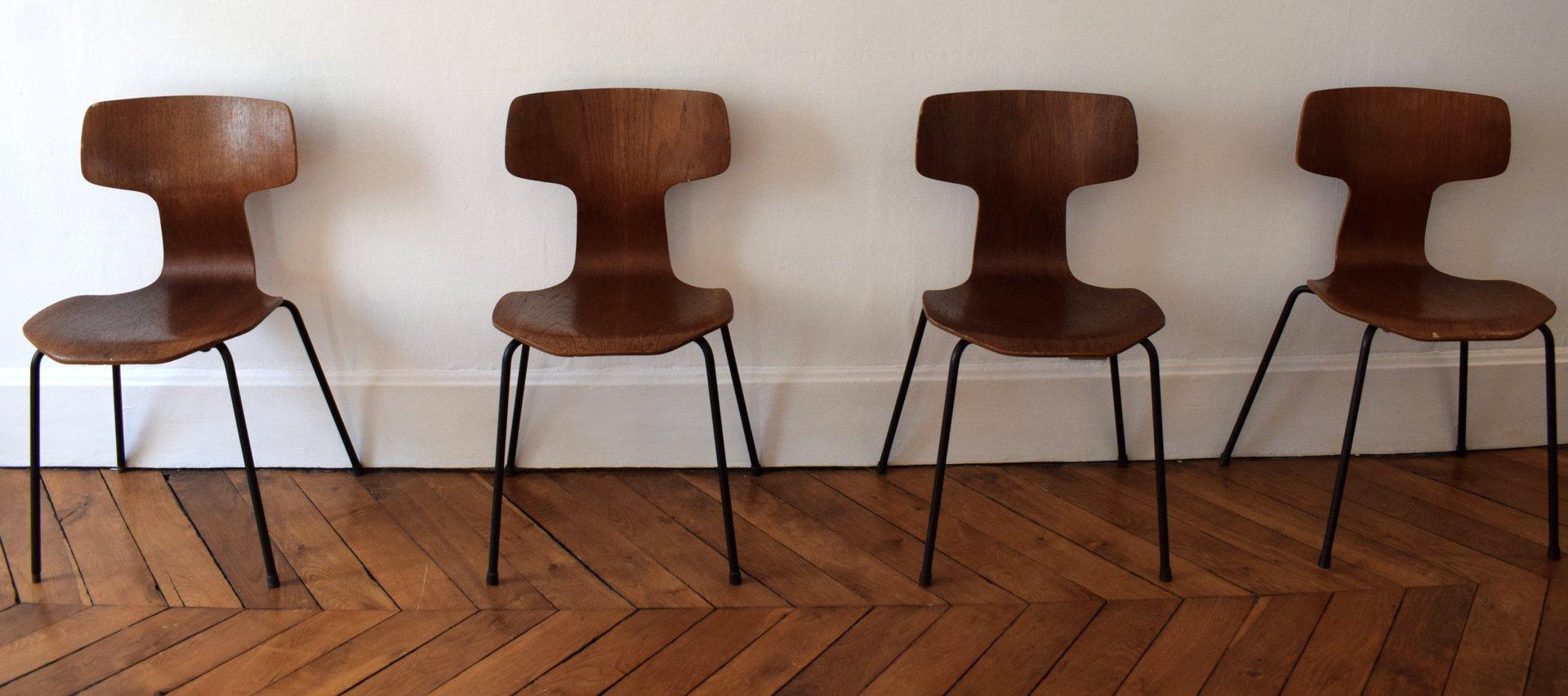 marteau st hle mit teak furnier von arne jacobsen f r. Black Bedroom Furniture Sets. Home Design Ideas