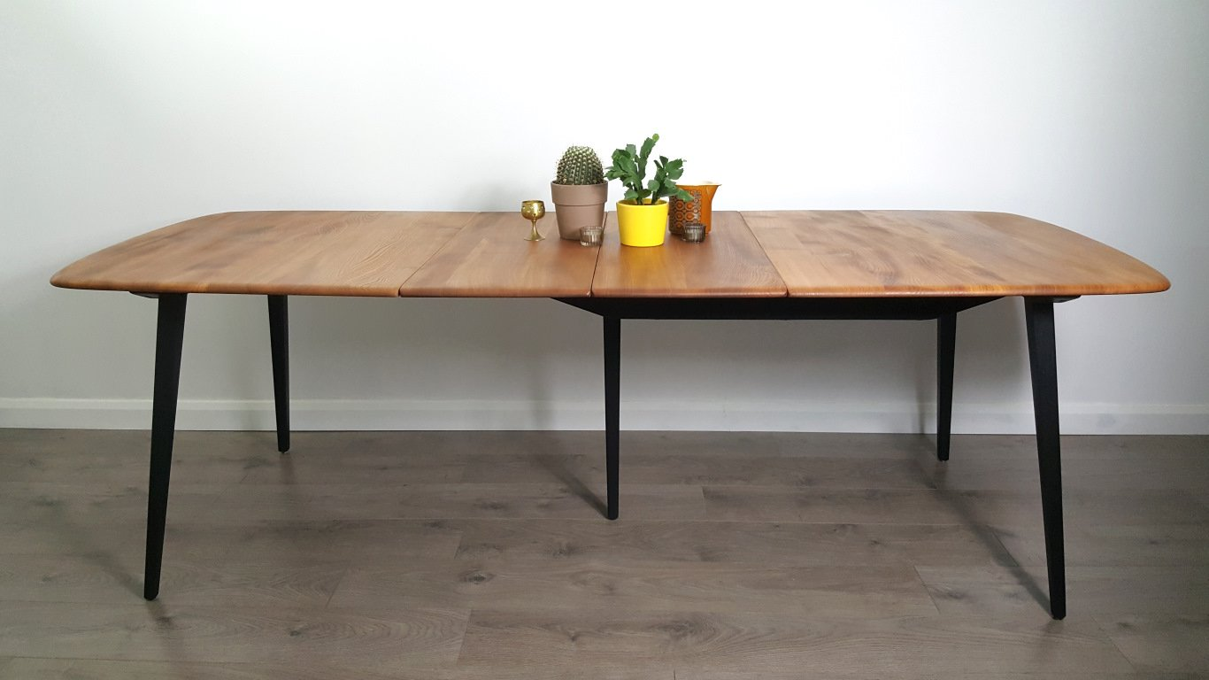 Vintage Extendable Elm Dining Table By Lucian Ercolani For Ercol For Sale At Pamono