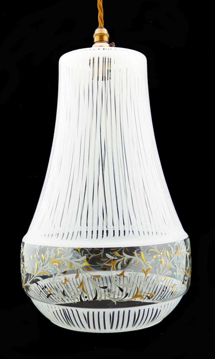 mid century pendant light with decorative glass for sale. Black Bedroom Furniture Sets. Home Design Ideas