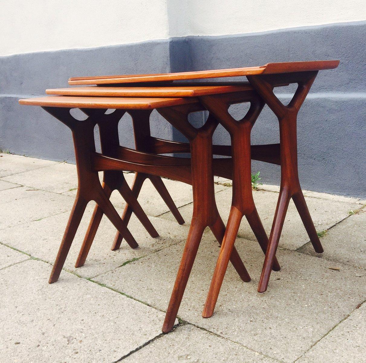Danish Teak Nesting Tables By Johannes Andersen For CFC, 1960s