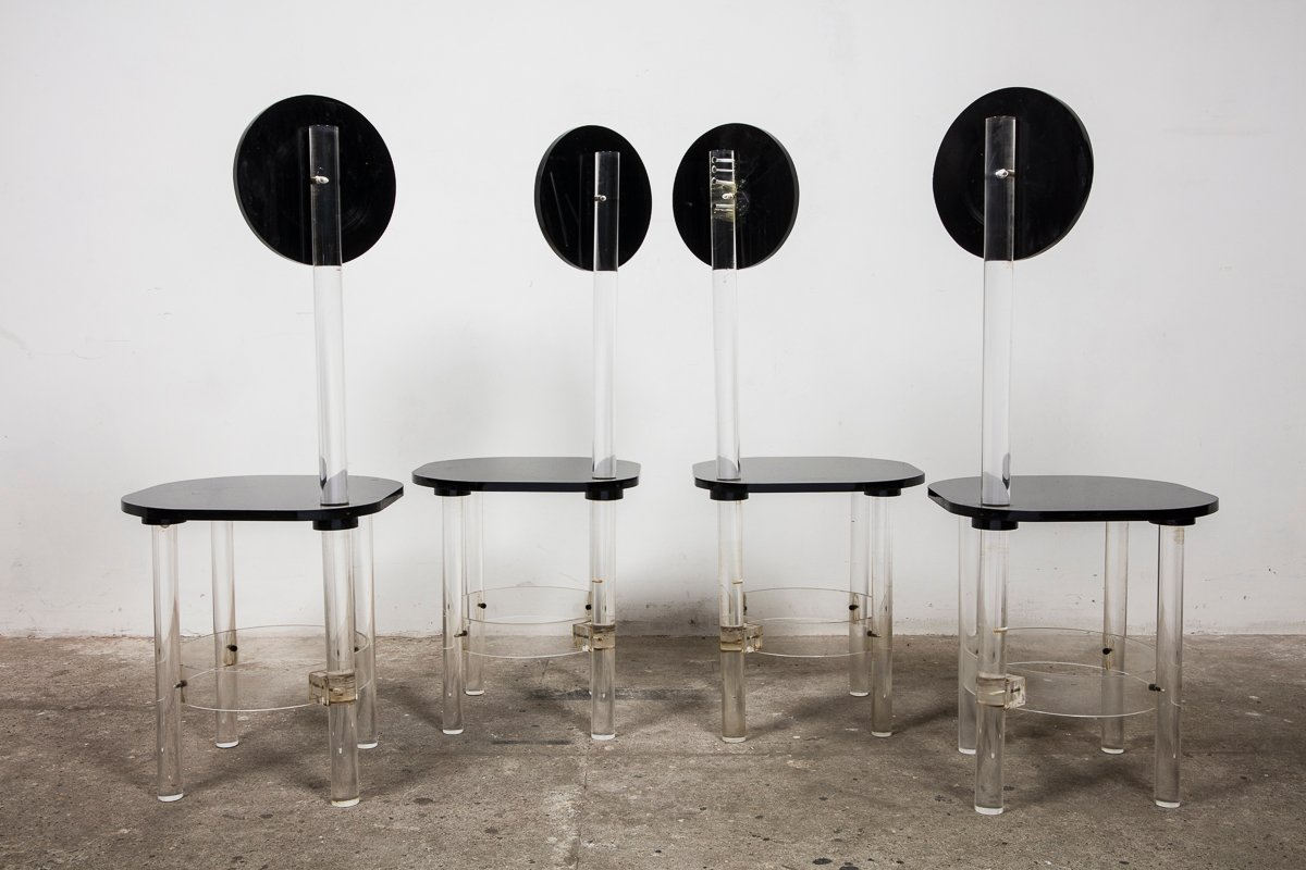 Black and Clear Sculptural Lucite High Back Dining Room Chairs ...