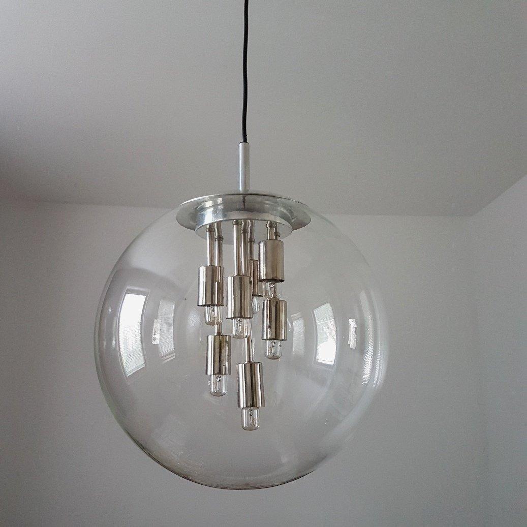 runde glas lampe von doria leuchten 1970er bei pamono kaufen. Black Bedroom Furniture Sets. Home Design Ideas