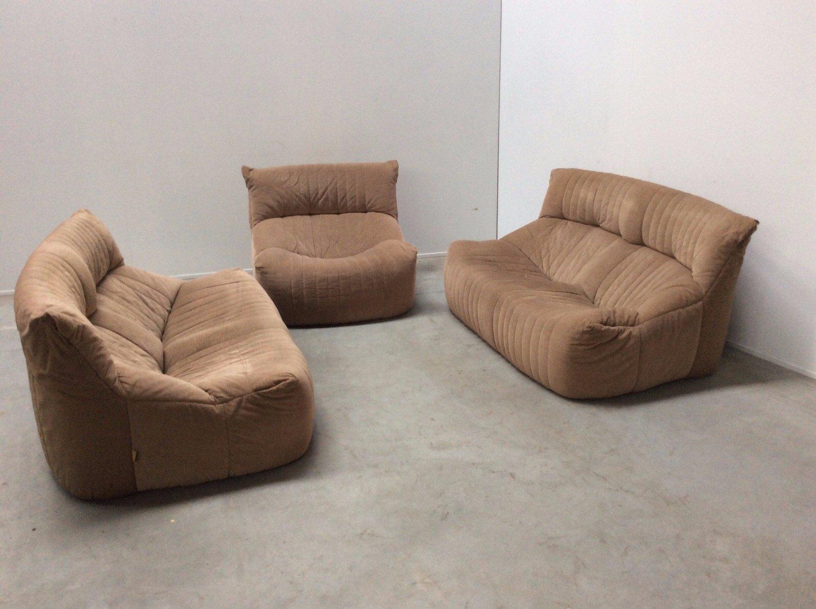 vintage aralia living room set with 2 sofas 1 armchair by michel ducaroy for ligne roset for. Black Bedroom Furniture Sets. Home Design Ideas