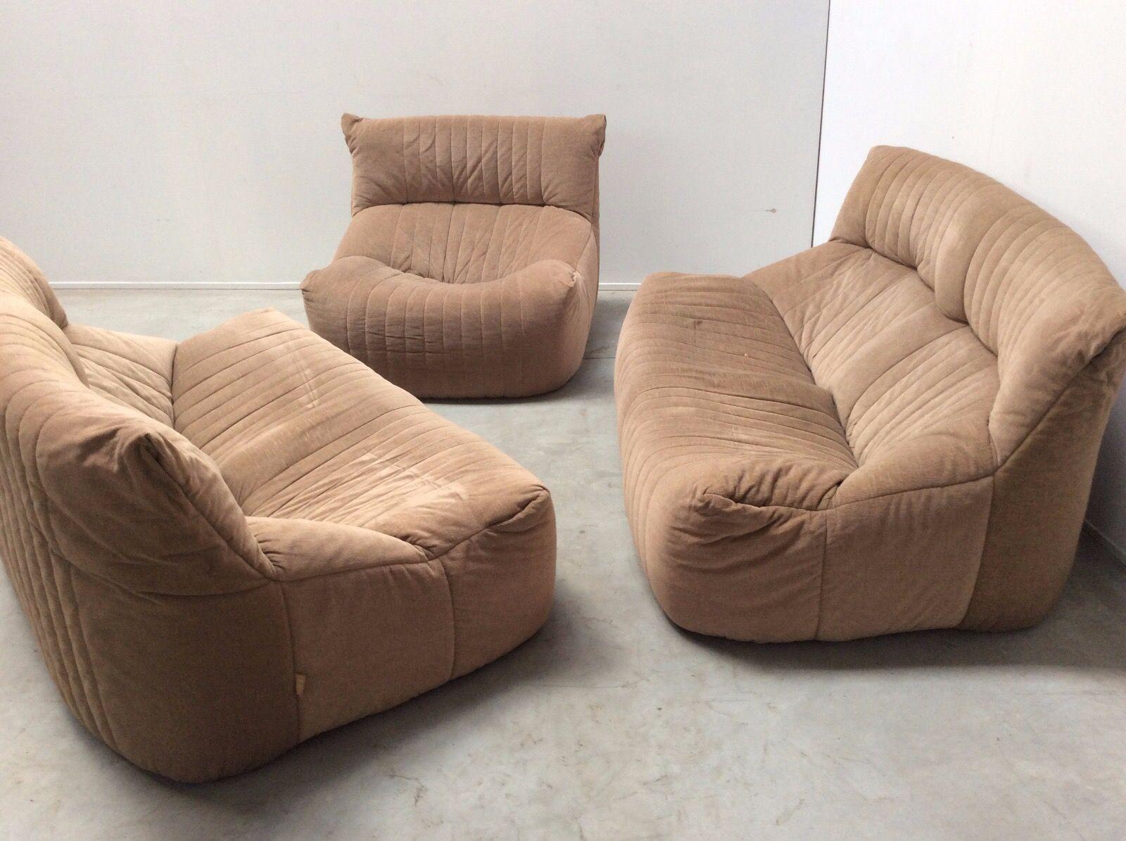 vintage aralia wohnzimmer set mit 2 sofas 1 sessel von michel ducaroy f r ligne roset bei. Black Bedroom Furniture Sets. Home Design Ideas