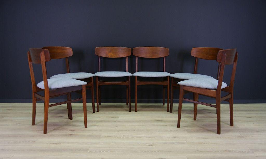 d nische mid century teak st hle 6er set bei pamono kaufen. Black Bedroom Furniture Sets. Home Design Ideas