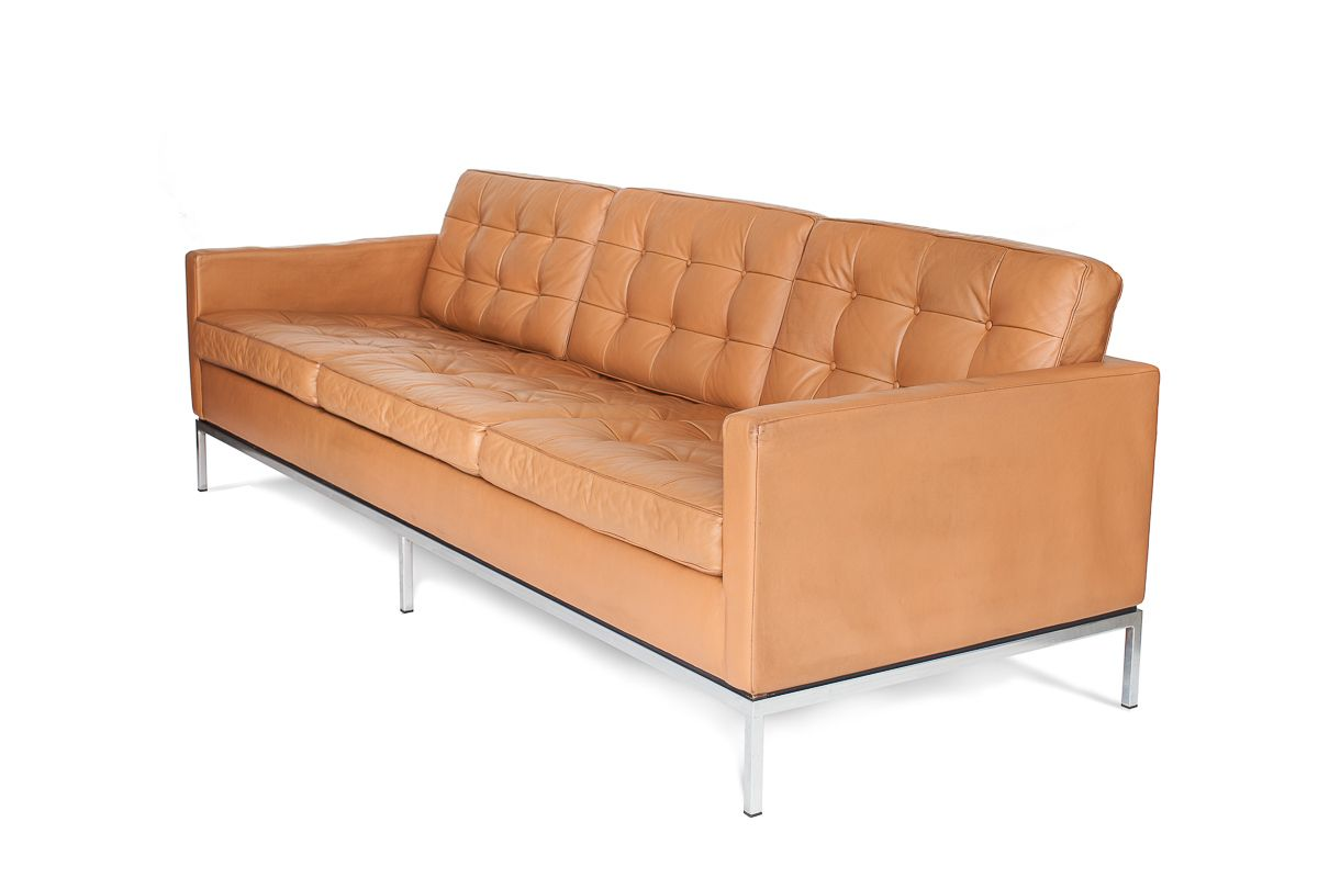 mid century 3 seater leather sofa by florence knoll. Black Bedroom Furniture Sets. Home Design Ideas