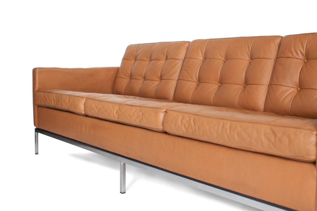 mid century 3 seater leather sofa by florence knoll bassett for knoll international for sale at. Black Bedroom Furniture Sets. Home Design Ideas
