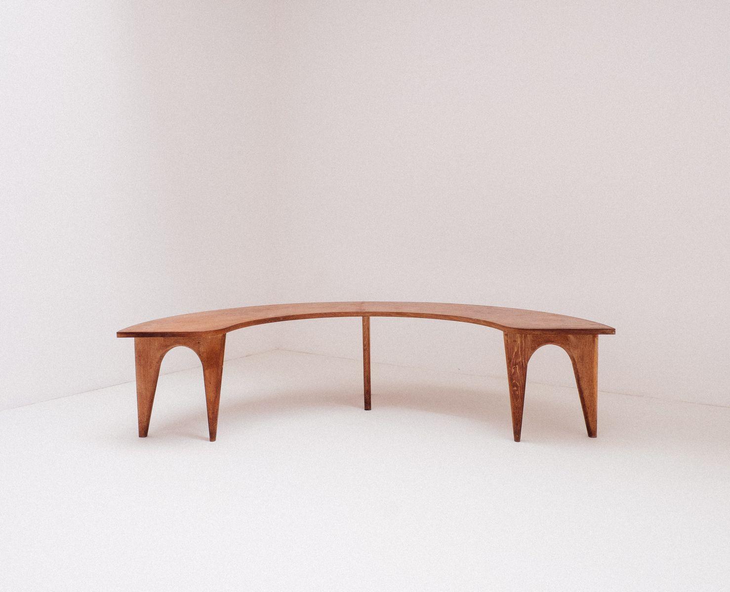Custom Made Oak Veneer Dining Room Bench 1954