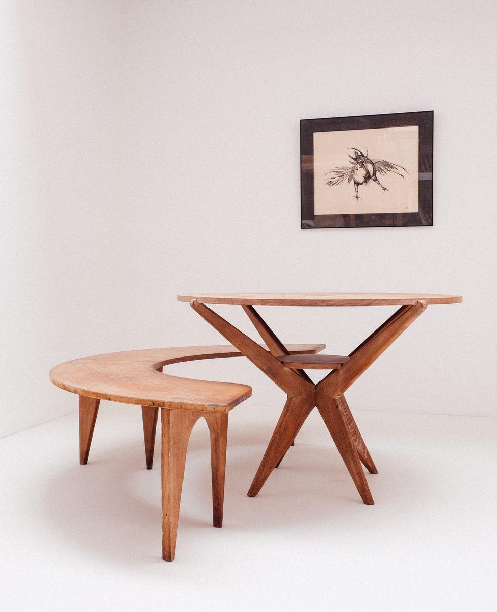 Custom Made Oak Veneer Dining Room Bench 1954 For Sale At Pamono