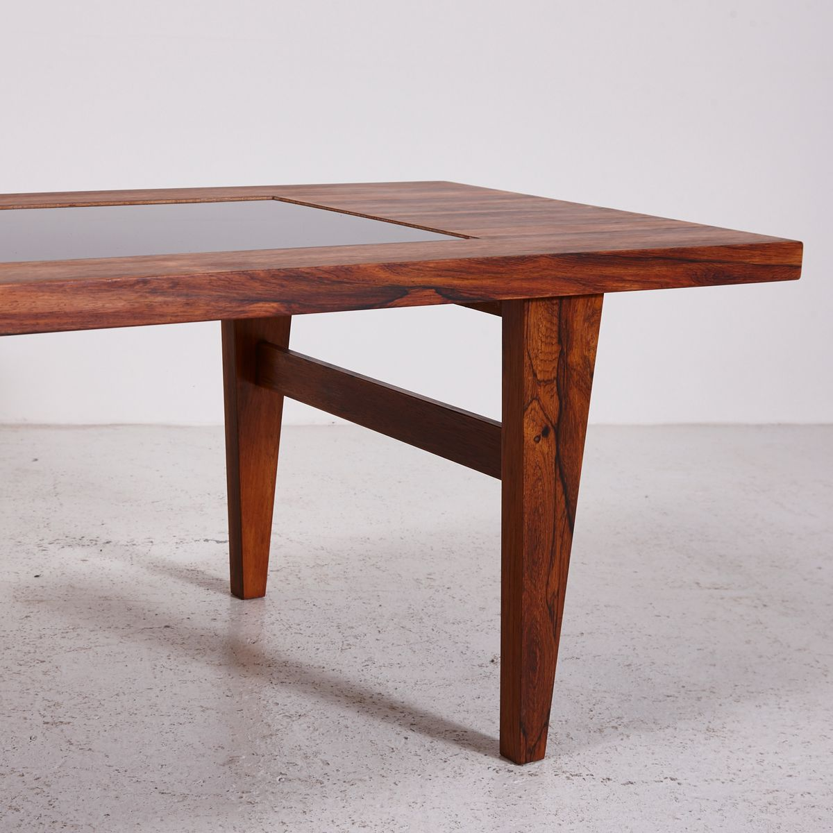 Mid Century Coffee Table Black: Mid-Century Rosewood Coffee Table With Black Glass Inlay