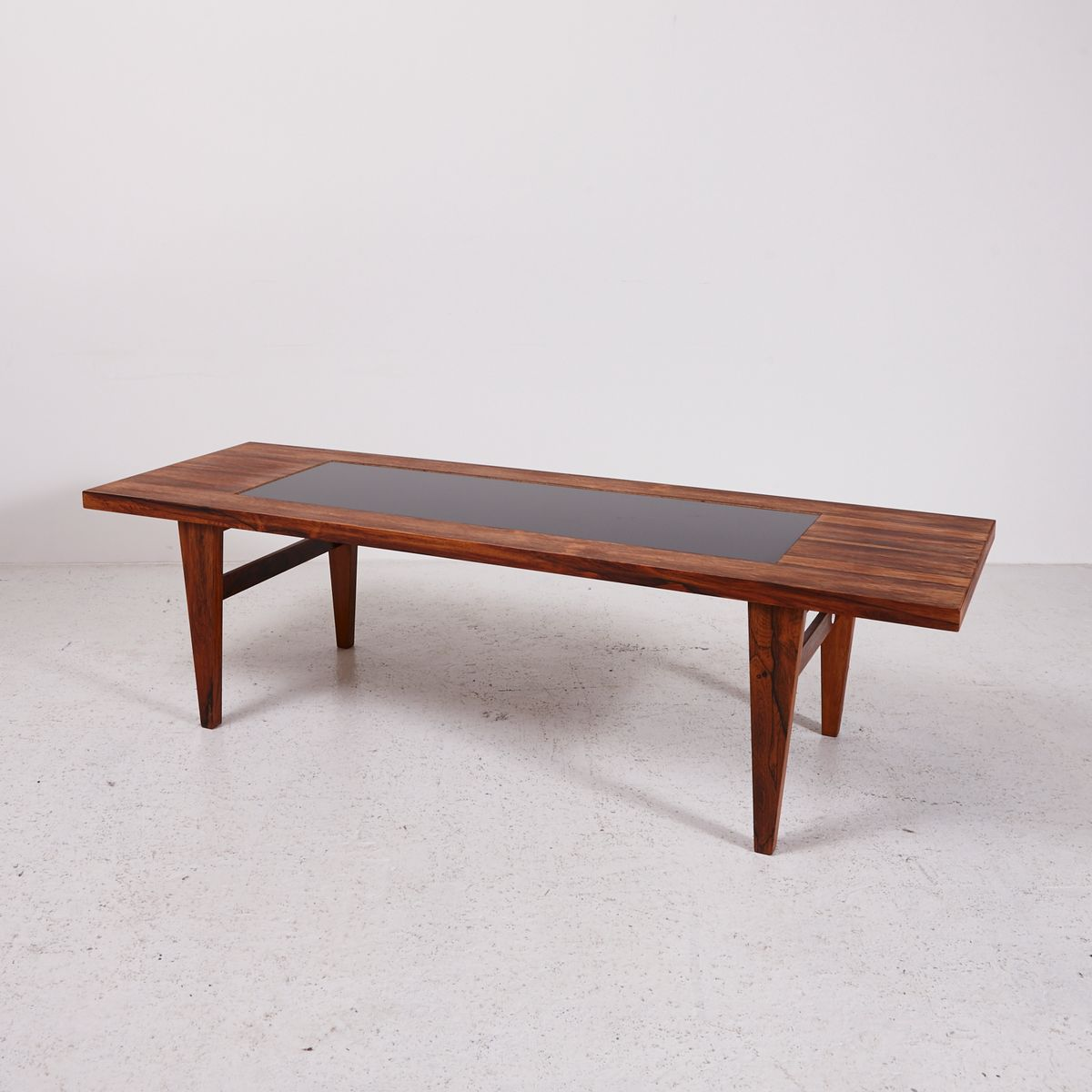 Mid-Century Rosewood Coffee Table With Black Glass Inlay