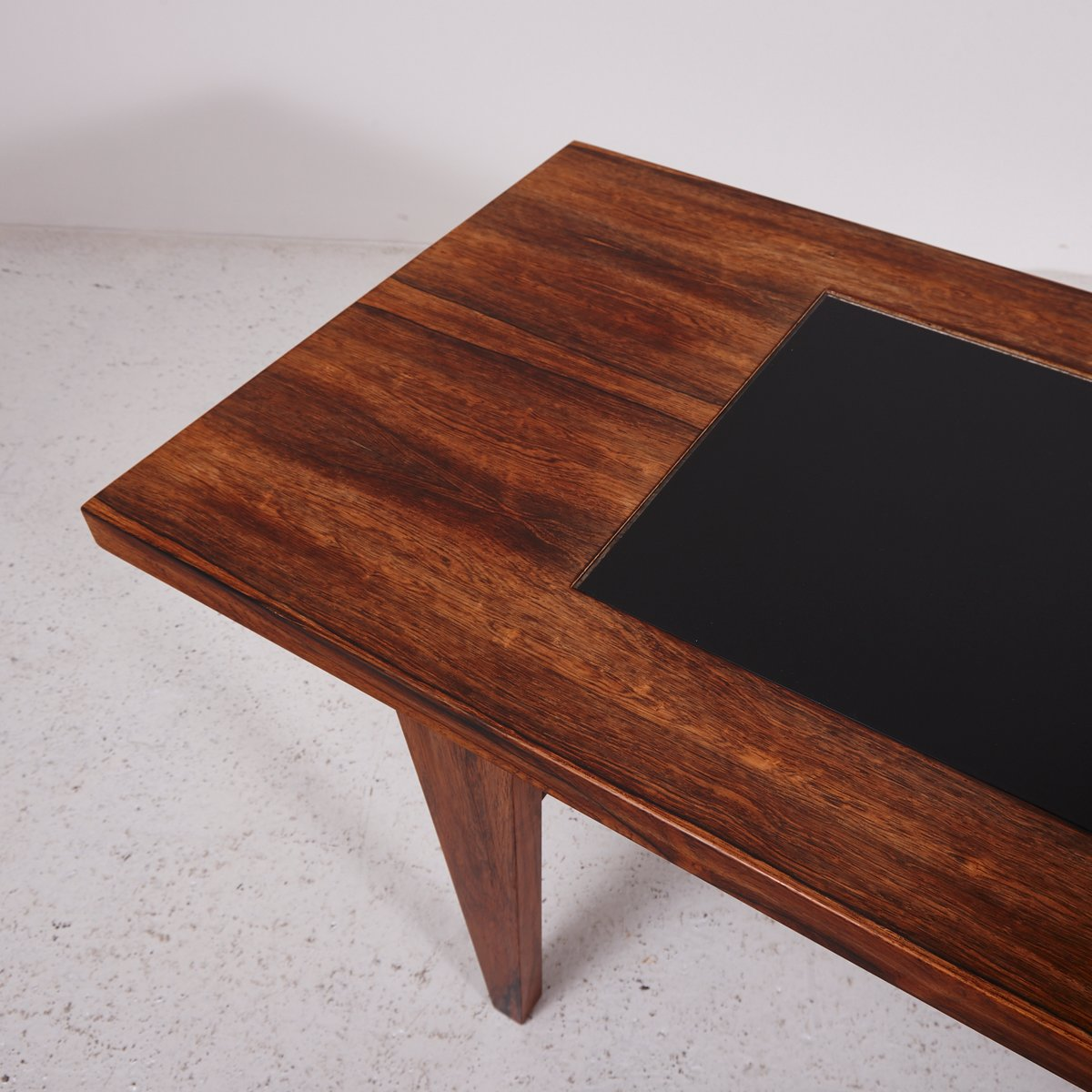Mid century rosewood coffee table with black glass inlay for Glass inlay coffee table