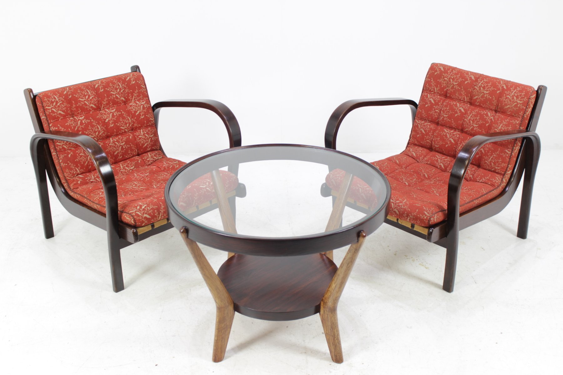 Vintage Armchairs And Coffee Table Set By Karel Kozelka U0026 Antonín Kropáček