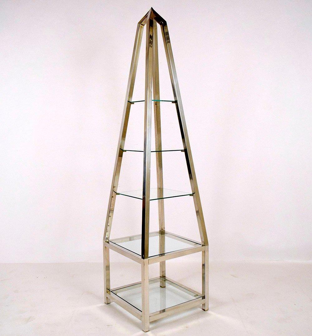 vintage single aluminium obelisk shelving unit for sale at. Black Bedroom Furniture Sets. Home Design Ideas