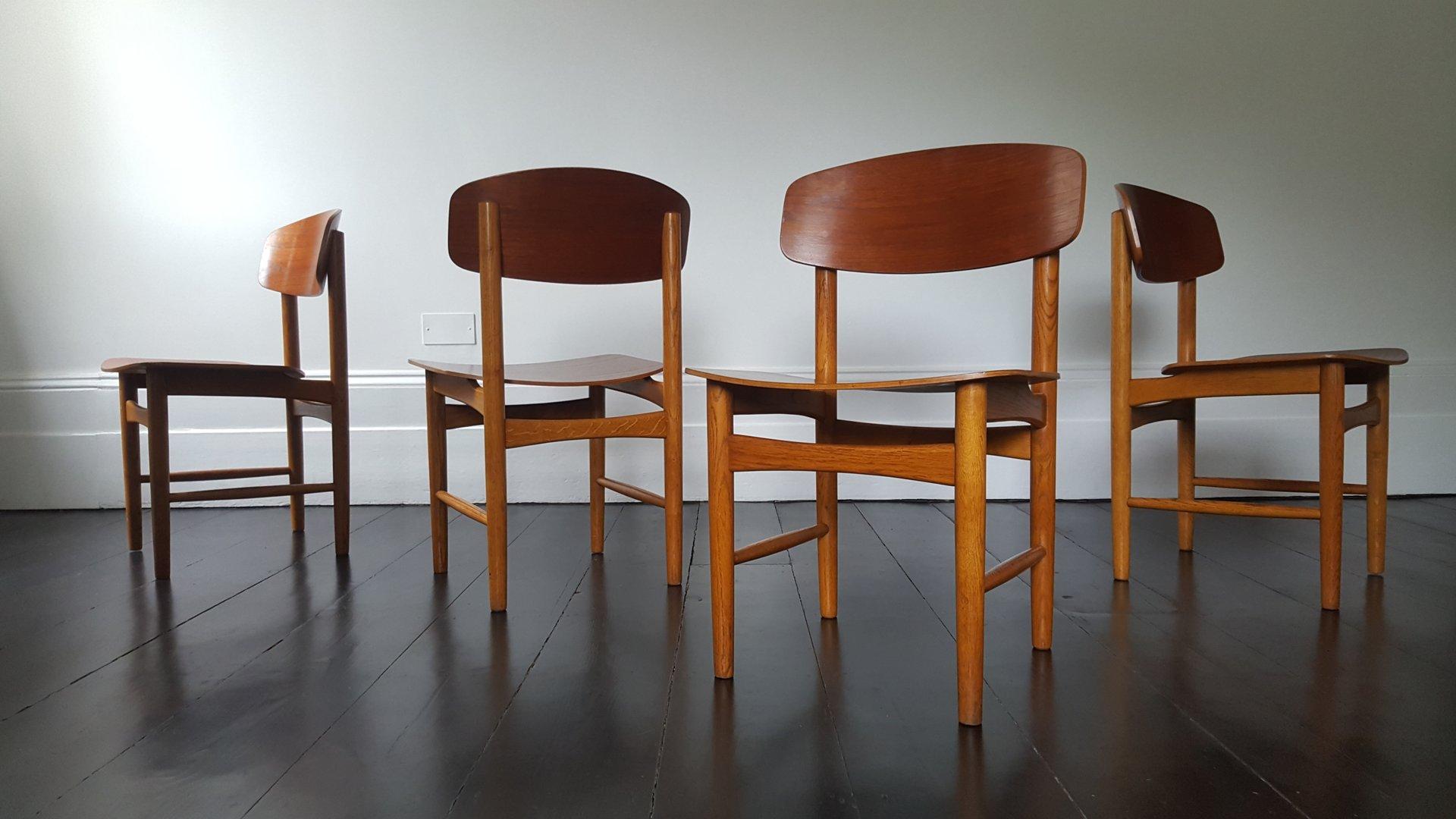 model 122 teak oak dining chairs by bà rge mogensen for sà borg