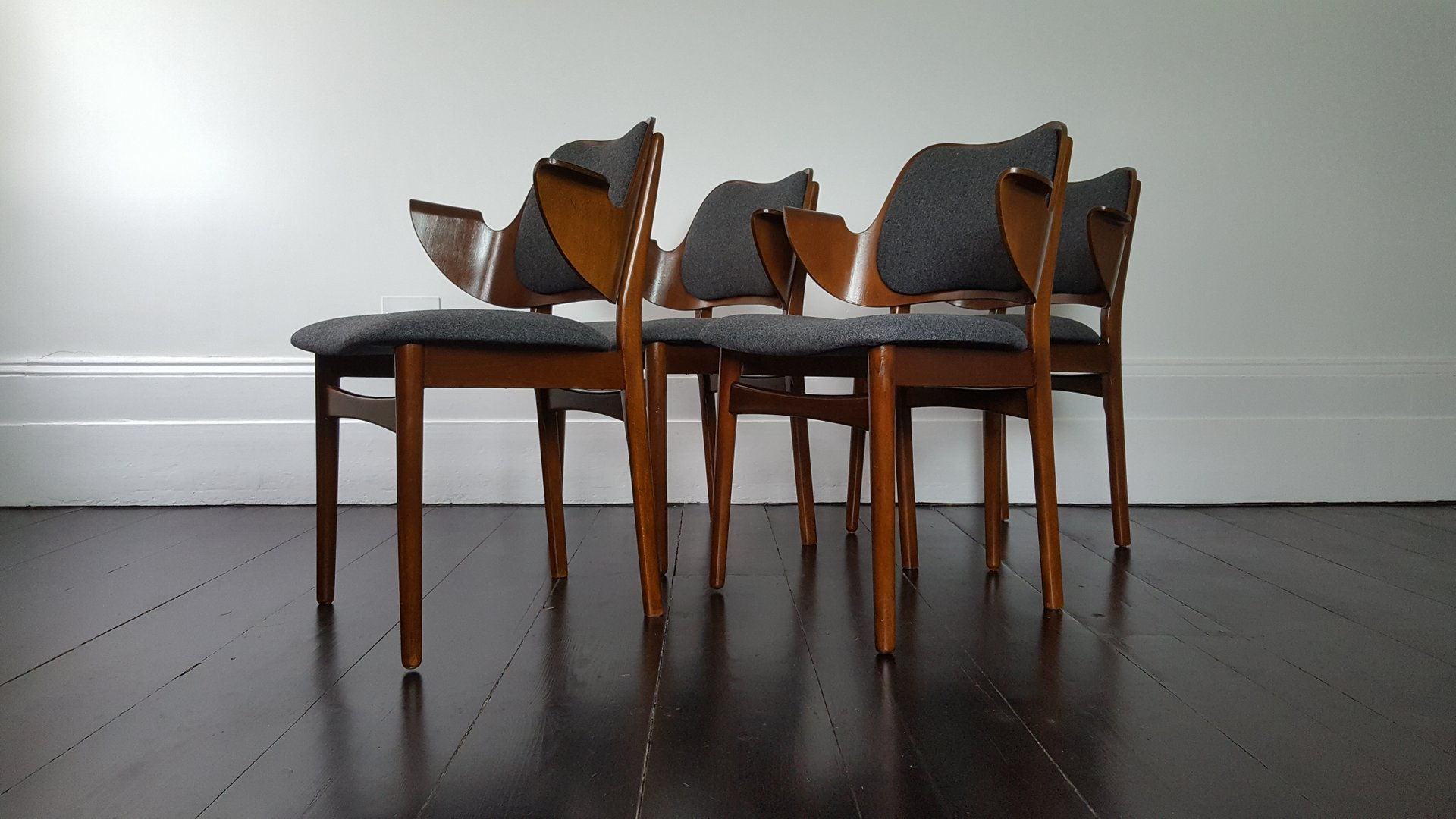 Mid Century Shell Dining Chairs By Hans Olsen For Bramin, Set Of 4