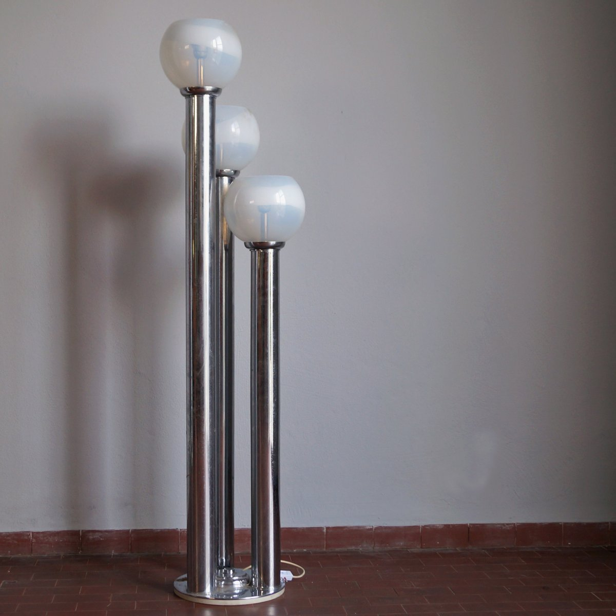 Chromed three light floor lamp from mazzega 1970s for sale at pamono for 1970s floor lamps