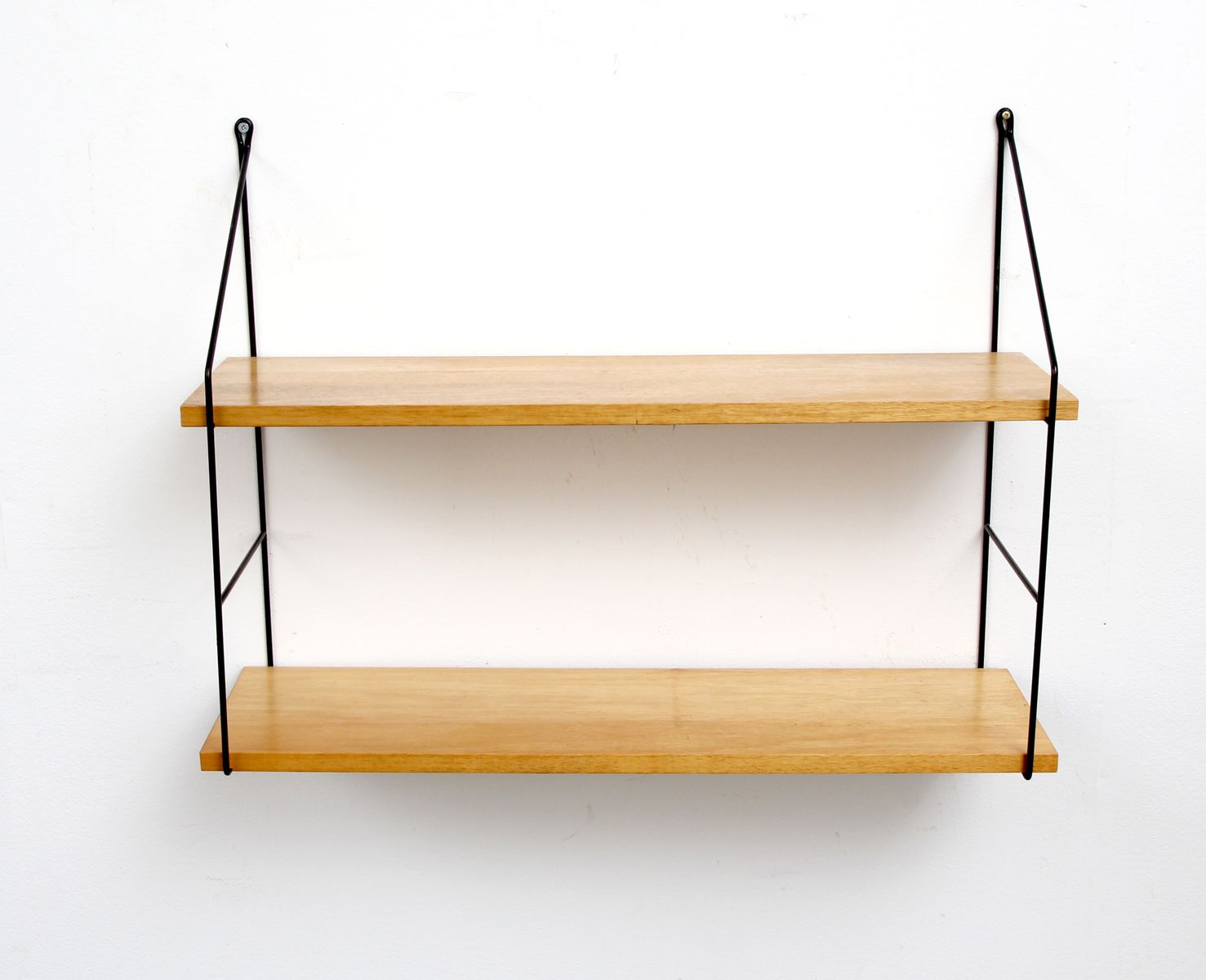 small ash veneered wall shelving unit 1960s for sale at. Black Bedroom Furniture Sets. Home Design Ideas