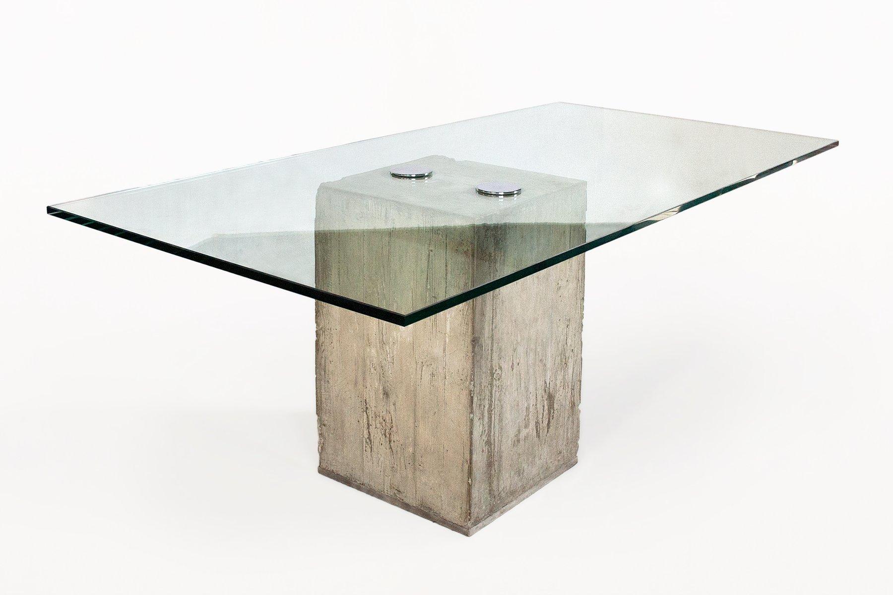 Glass and Concrete Dining Table by Sergio & Giorgio Sporiti 1970s