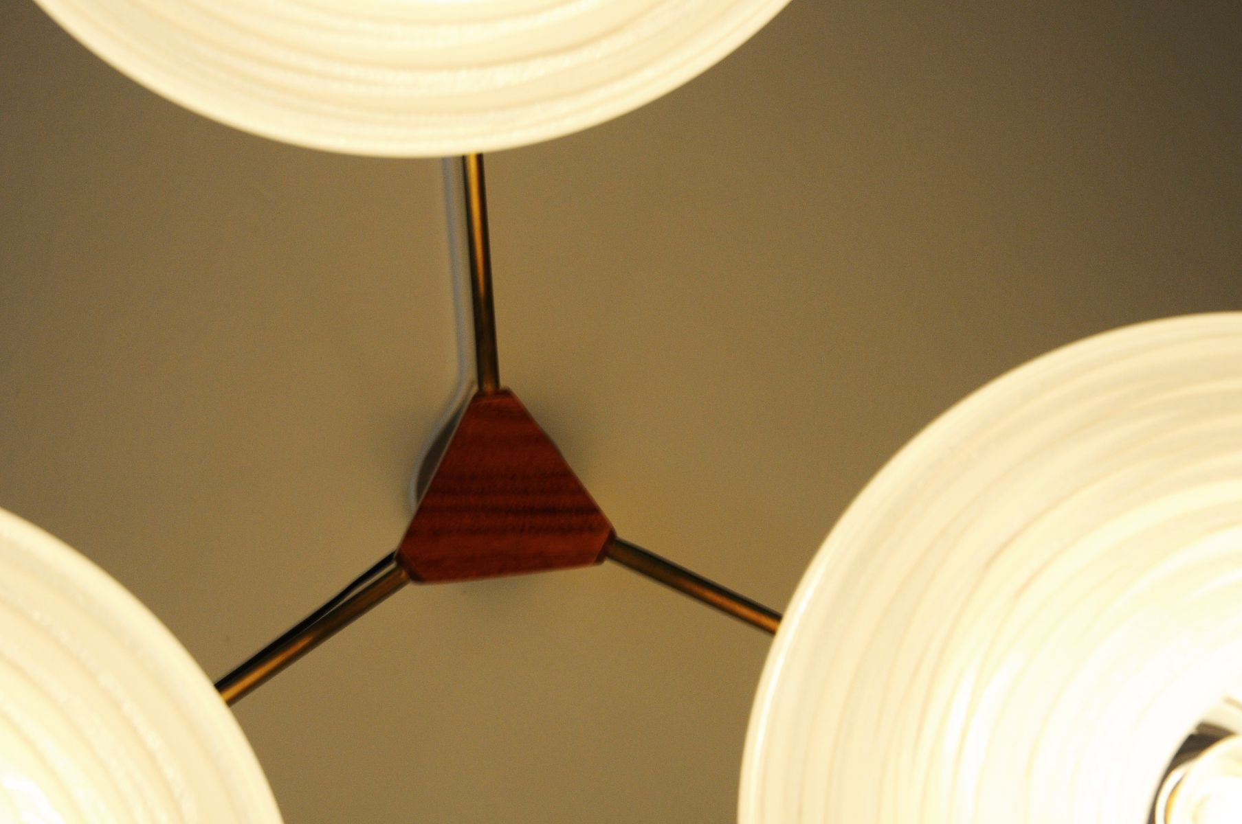 Mid-Century Ufo Ceiling Lamp with Teak and Brass Arms for sale at ...