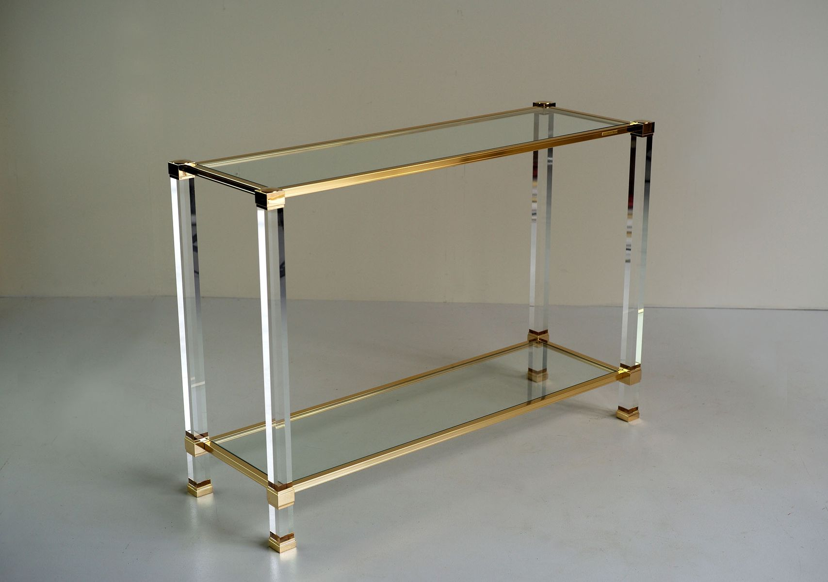 Plexiglass and Gilded Metal Console by Pierre Vandel 1980s for