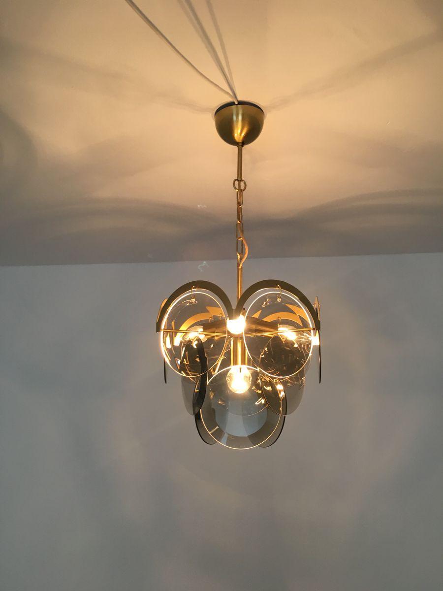 chandelier en verre fum de vistosi 1950s en vente sur pamono. Black Bedroom Furniture Sets. Home Design Ideas