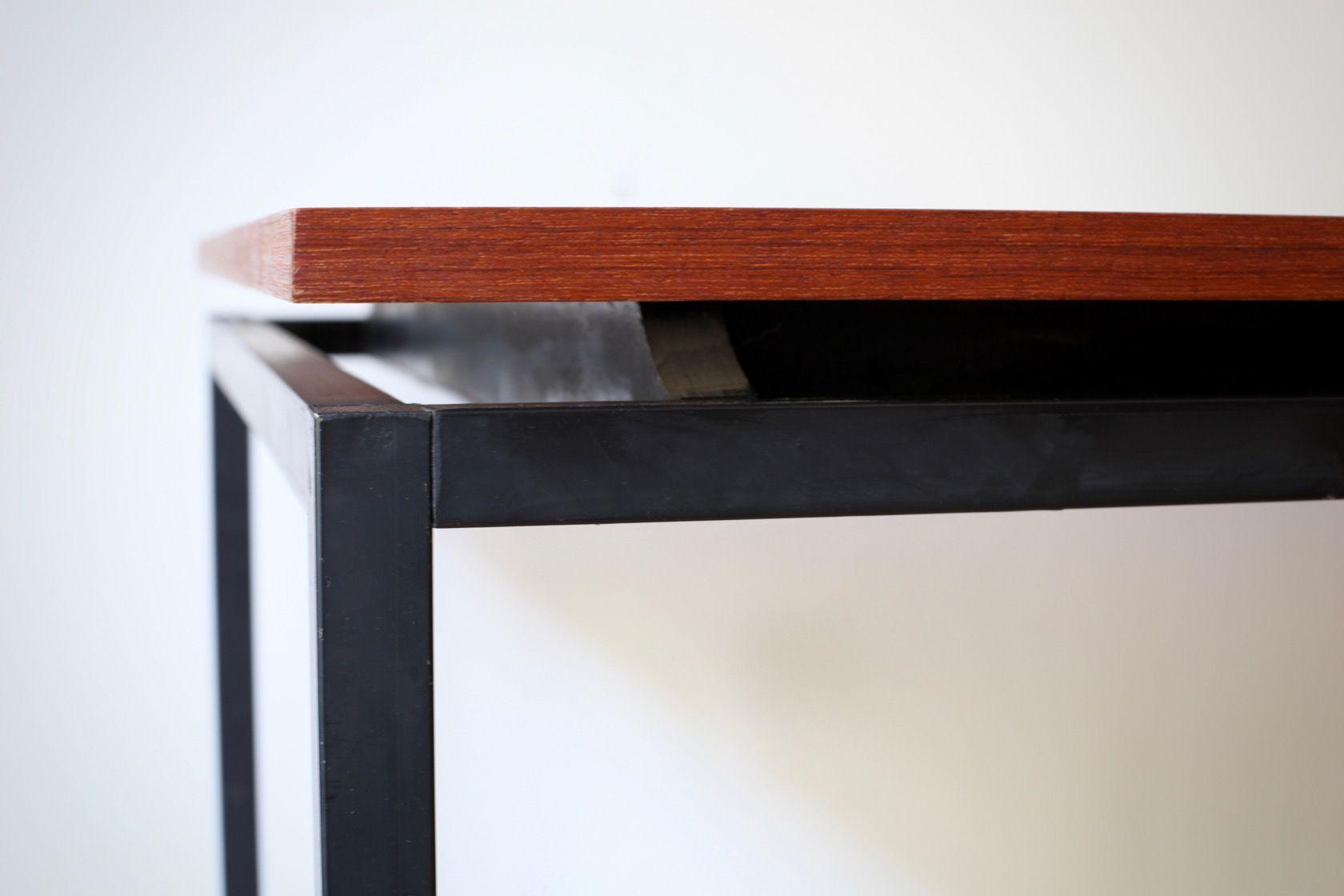 mid century esstisch aus teak mit stahlrohr bei pamono kaufen. Black Bedroom Furniture Sets. Home Design Ideas