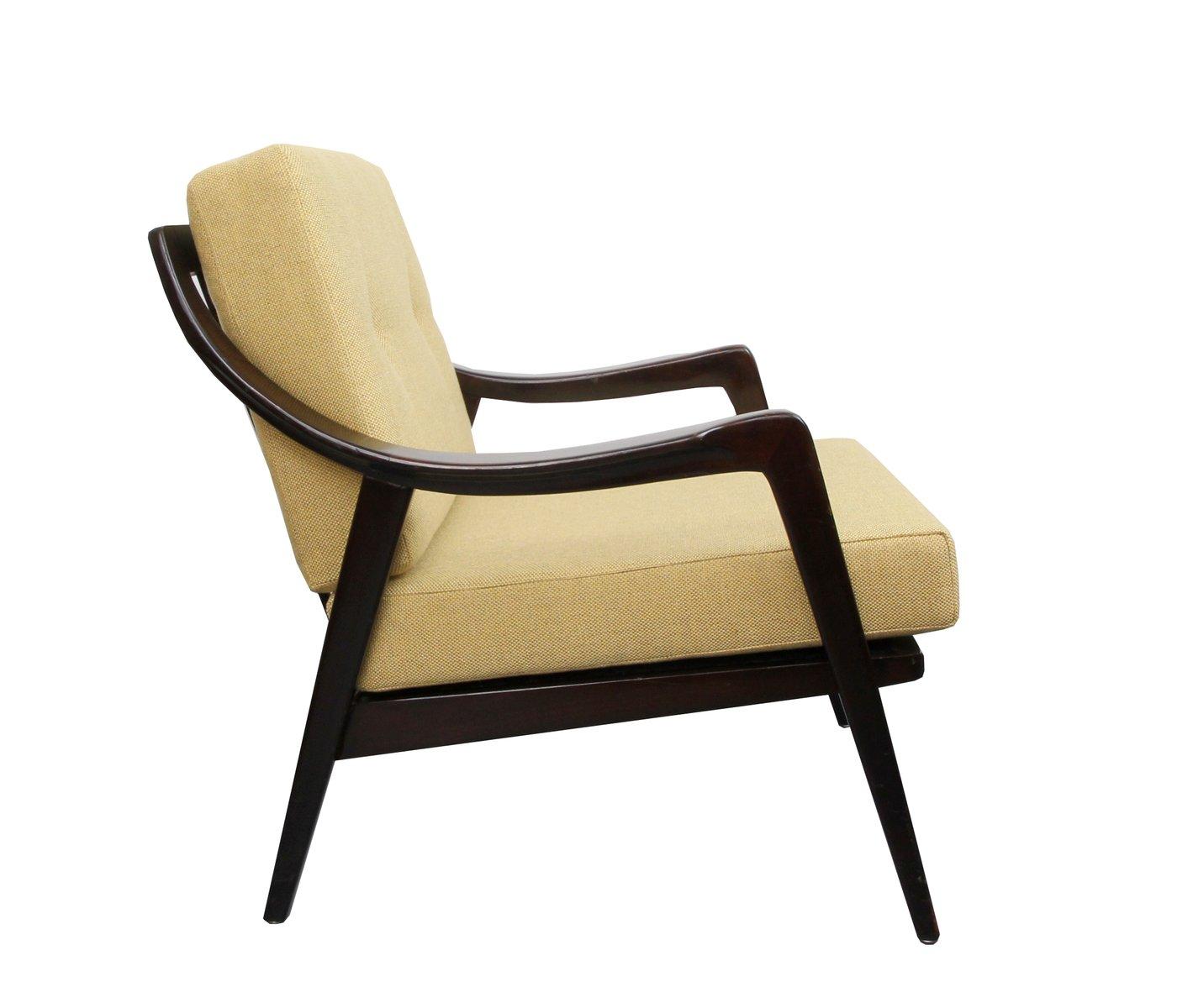 sessel mit gelben kissen 1950er bei pamono kaufen. Black Bedroom Furniture Sets. Home Design Ideas