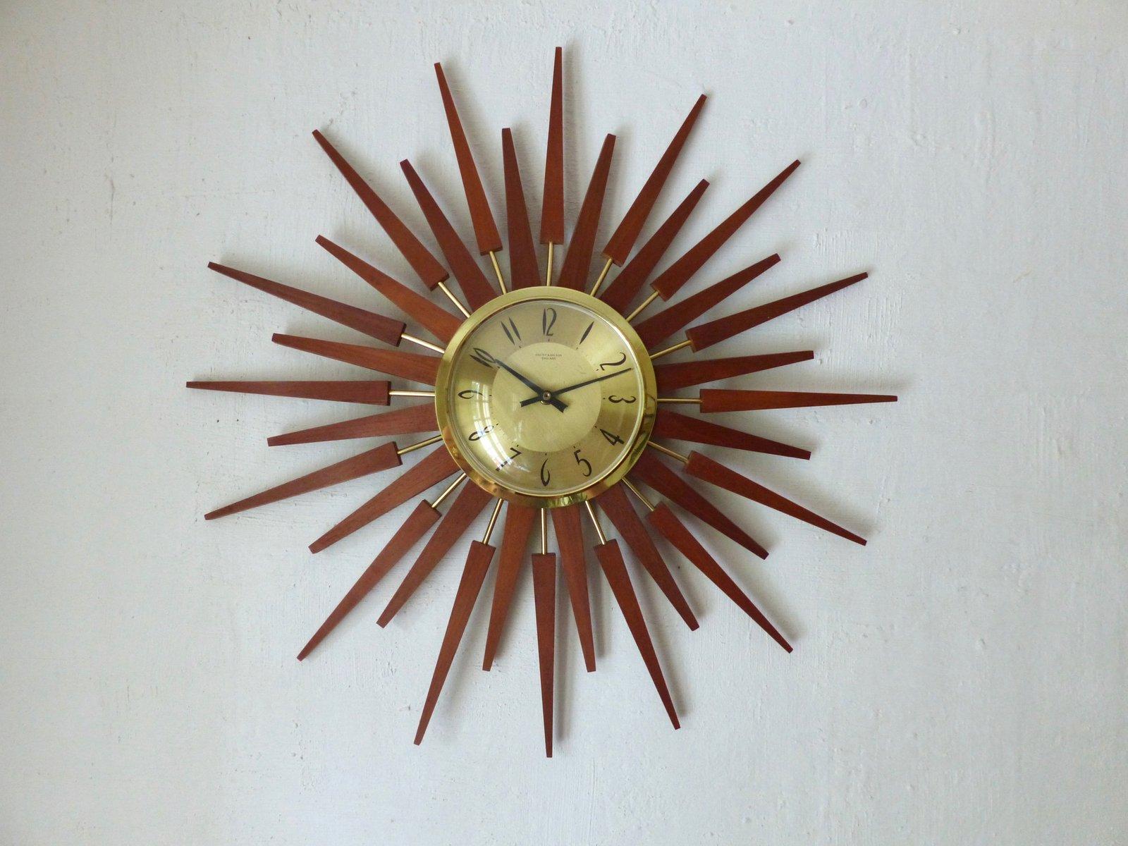 Mid-Century Sunburst Clock from Anstey & Wilson