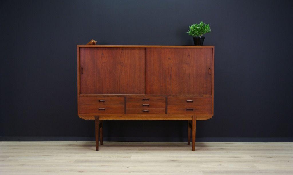 vintage danish teak veneer highboard for sale at pamono. Black Bedroom Furniture Sets. Home Design Ideas