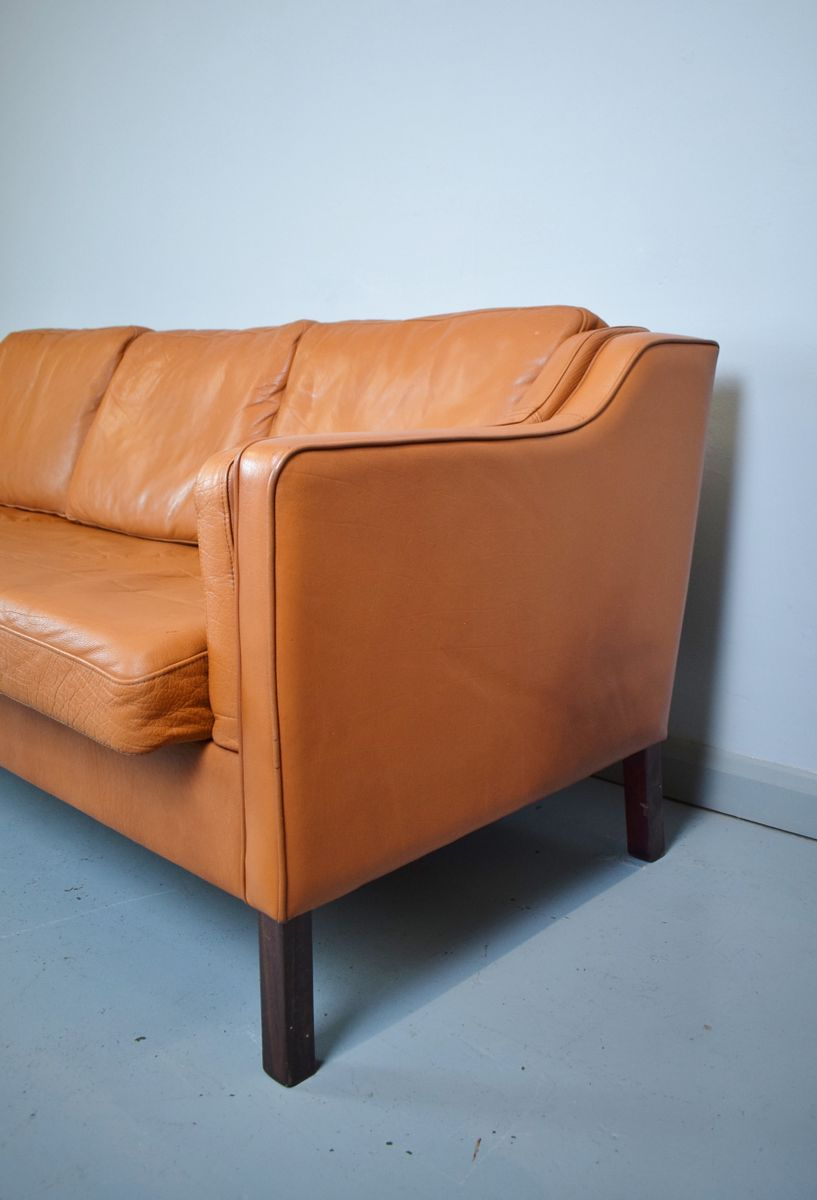 Danish tan leather three seater sofa 1970s for sale at pamono for Tan couches for sale