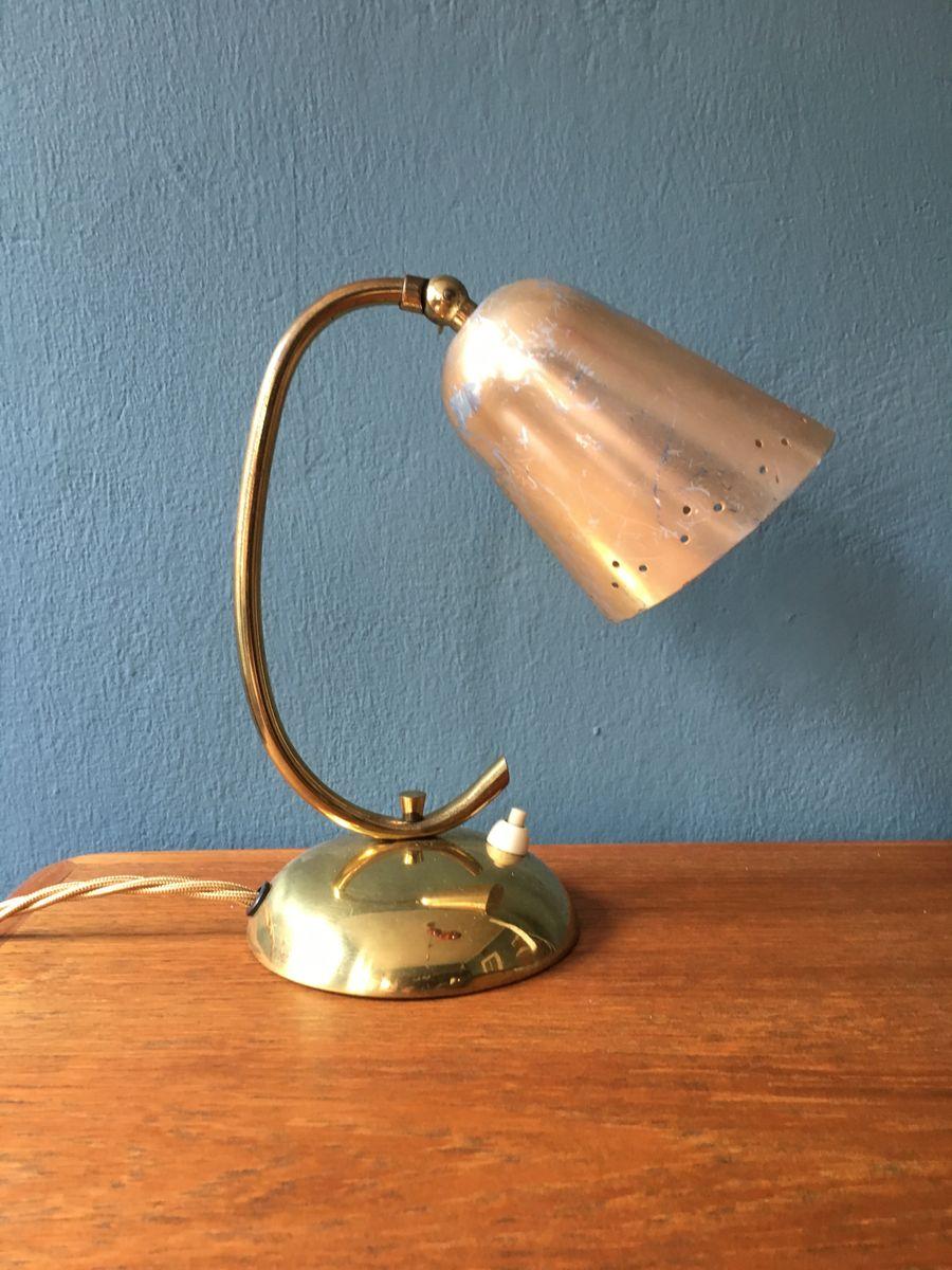 messing aluminium tischlampe 1950er bei pamono kaufen. Black Bedroom Furniture Sets. Home Design Ideas