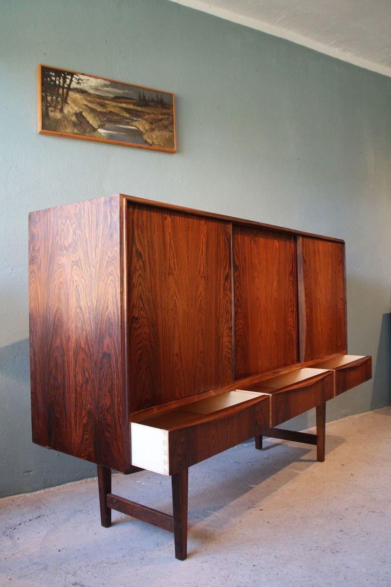 mid century palisander sideboard mit schubladen von e w. Black Bedroom Furniture Sets. Home Design Ideas