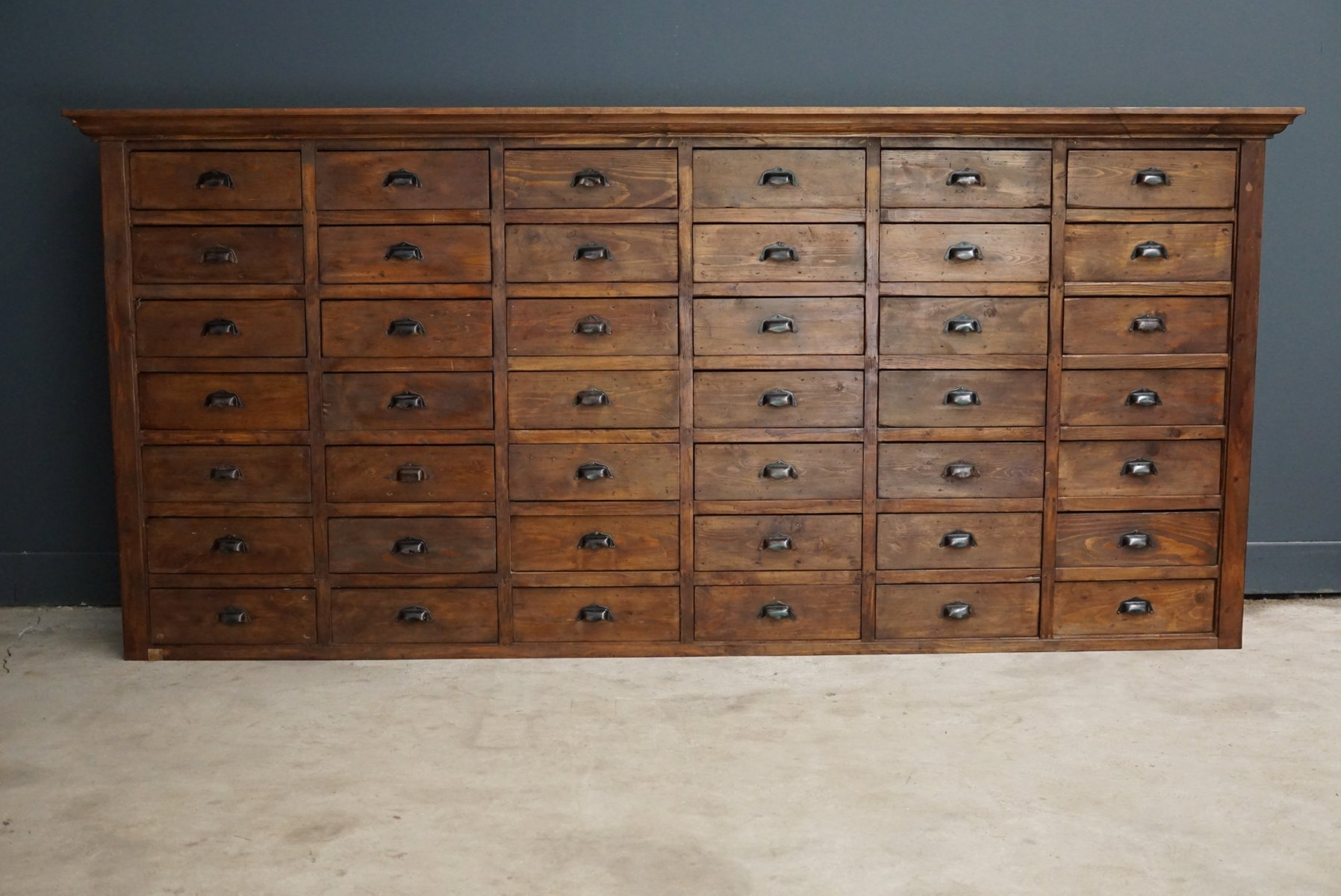 Large French Pine Apothecary Cabinet, 1950s for sale at Pamono