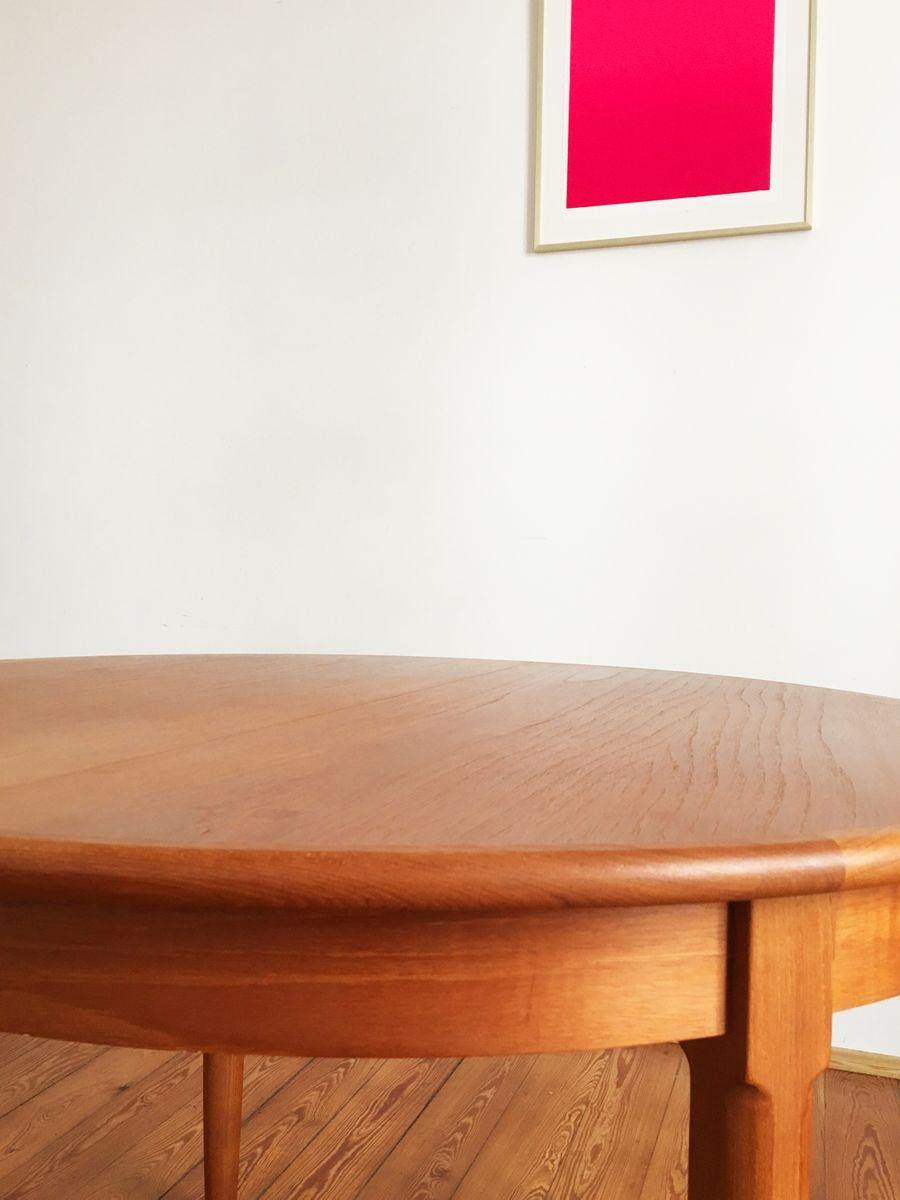 Round Danish Mid Century Teak Dining Table from Uldum for  : round danish mid century teak dining table from uldum 5 from www.pamono.com size 900 x 1200 jpeg 52kB