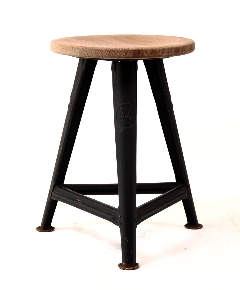Metallmöbel vintage  Vintage Industrial Stool by Robert Wagner for Rowac for sale at Pamono