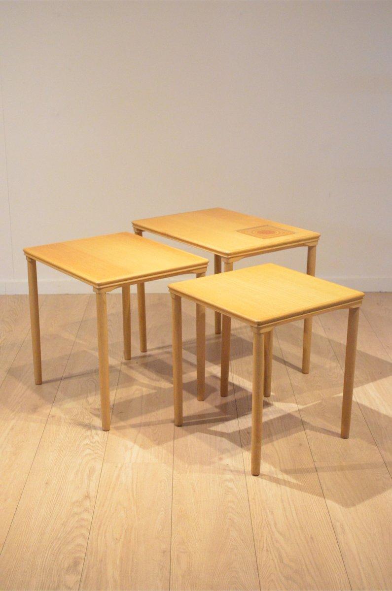 Wonderful Danish Oak U0026 Ceramic Nesting Tables From Toften Mobelfabrik, 1960s