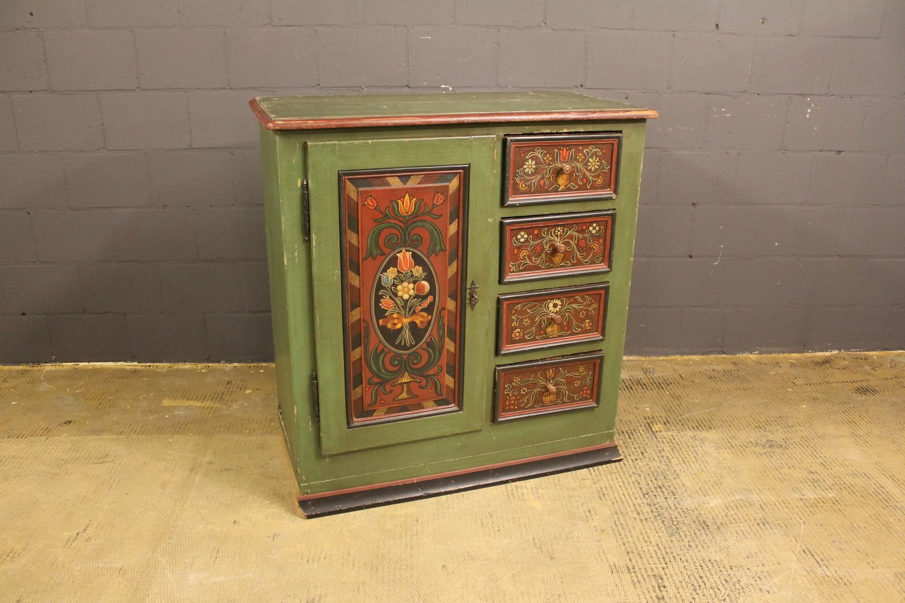 Antique German Handpainted Cabinet for sale at Pamono