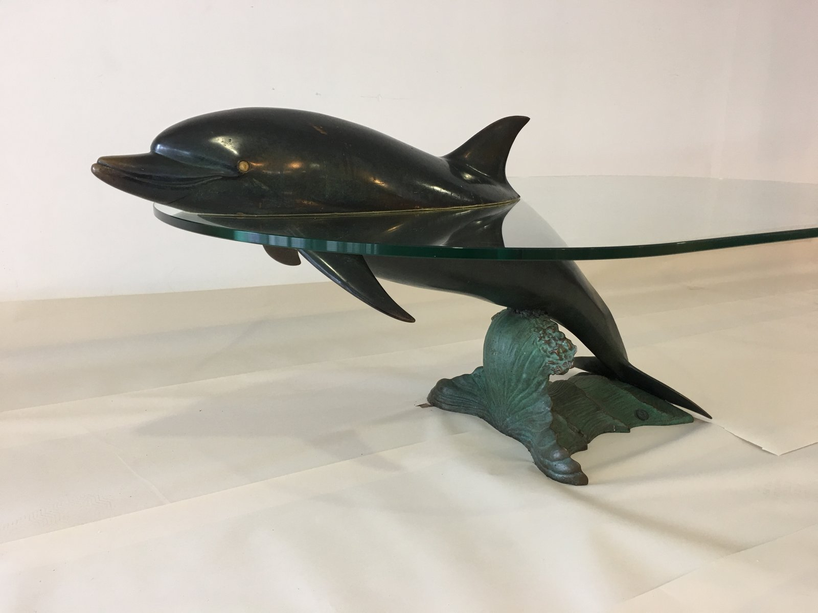 Spanish Dolphin Coffee Table in Solid Bronze from Valenti 1980s