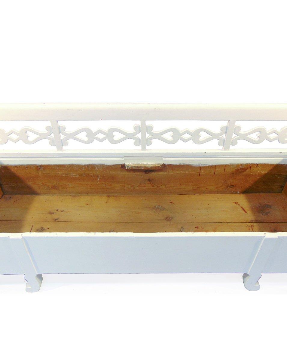 Panca da cucina in legno bianco e naturale, Svezia, inizio XX secolo in vendita su Pamono