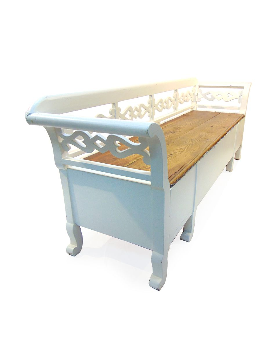 Swedish Kitchen Bench In White And Natural Wood 1900s For