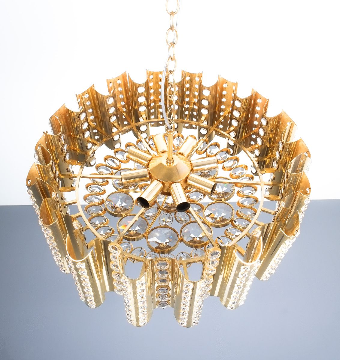 Large Gold Plated Brass and Crystal Chandelier by Gaetano Sciolari ...