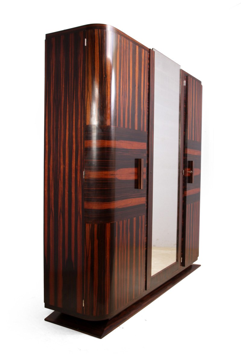 art deco macassar ebony armoire 1920s for sale at pamono. Black Bedroom Furniture Sets. Home Design Ideas