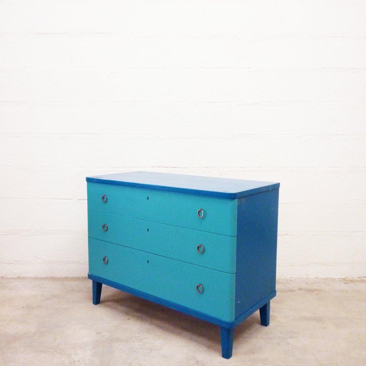 blauer vintage schubladenschrank aus holz bei pamono kaufen. Black Bedroom Furniture Sets. Home Design Ideas