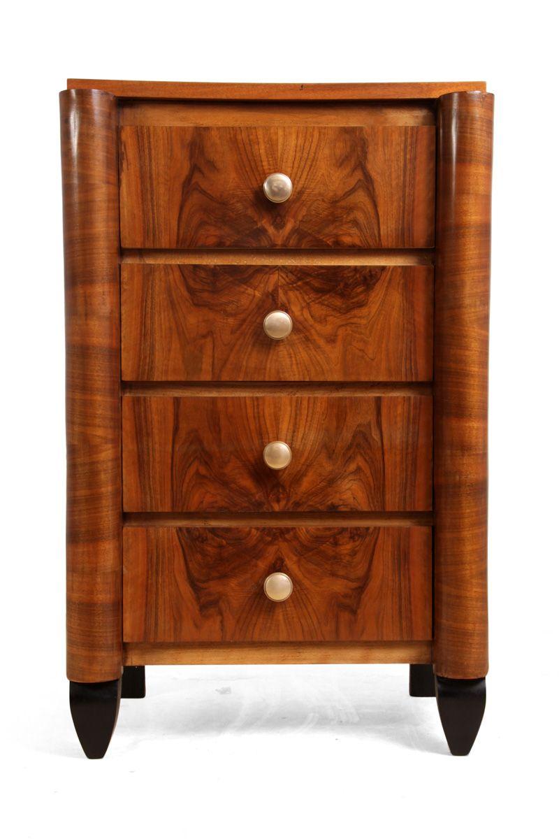 franz sische art deco walnuss kommode 1930er bei pamono kaufen. Black Bedroom Furniture Sets. Home Design Ideas