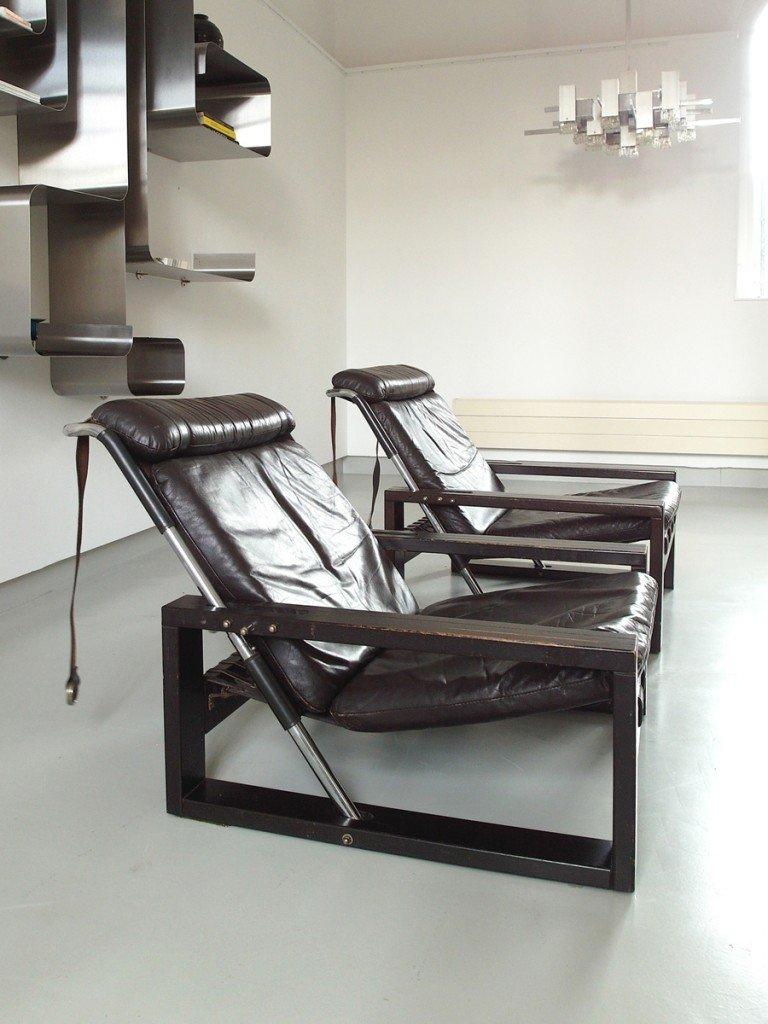 brutalistische eichenholz leder armlehnst hle von sonja. Black Bedroom Furniture Sets. Home Design Ideas