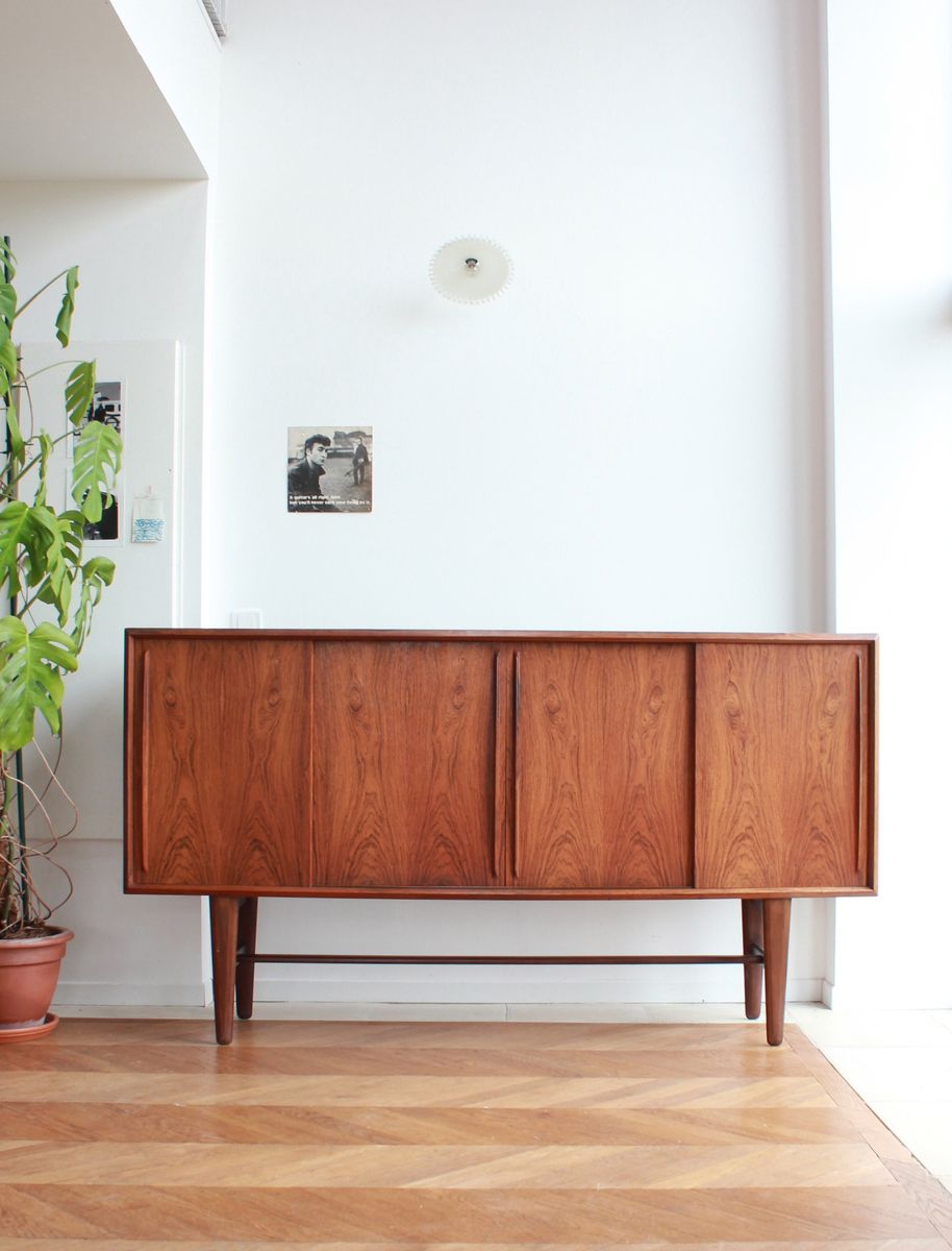 vintage sideboard with an arched front in rosewood by h p. Black Bedroom Furniture Sets. Home Design Ideas