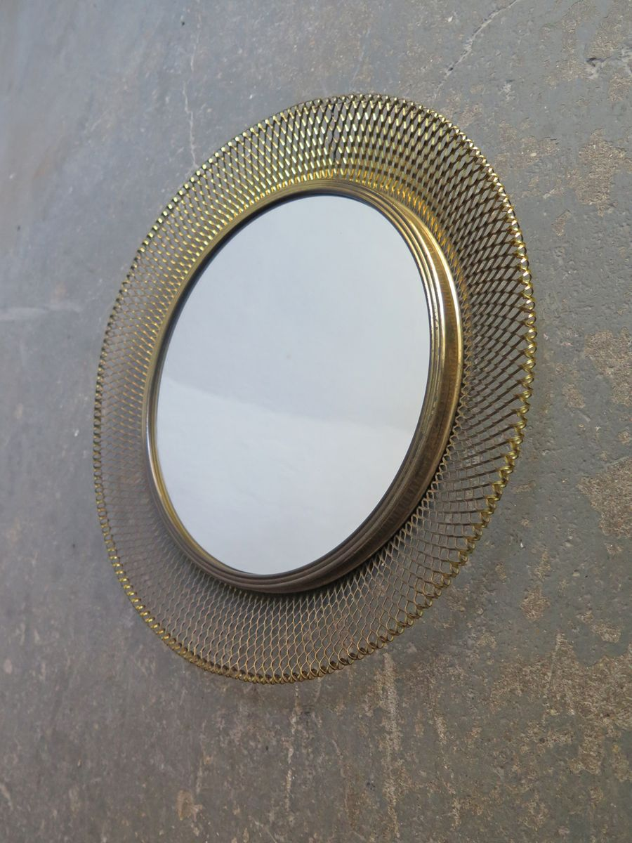 Round mirror with brass net frame s for sale at pamono