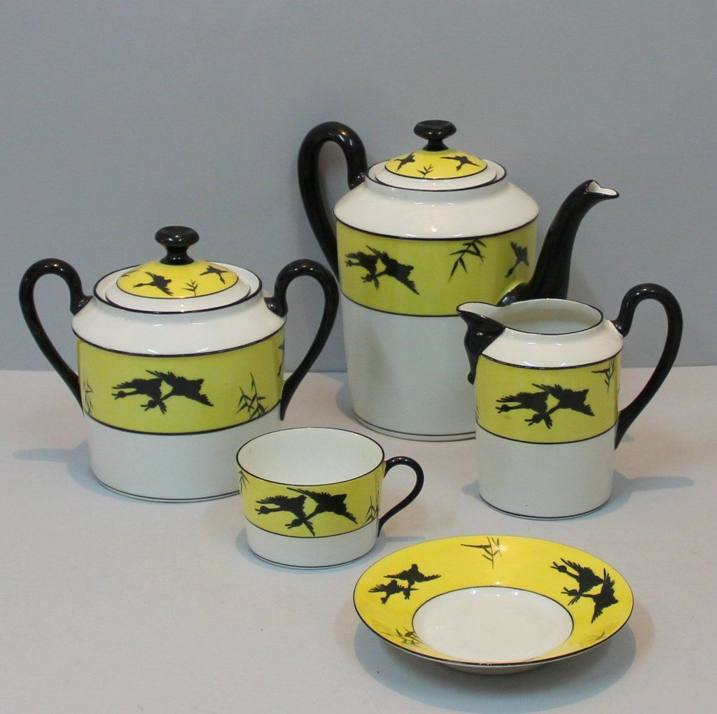 Vintage Art Deco Coffee Set In Porcelain From Limoges For