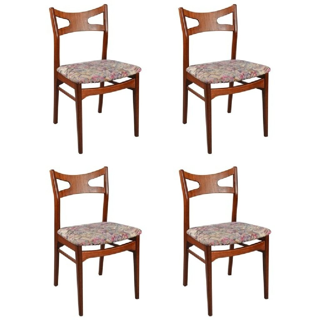 Set Of 4 Dining Chairs ~ Floral teak dining chairs s set of for sale at pamono